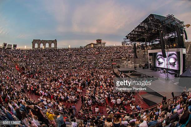 A view of the crowd at the Adele concert at Arena di Verona on May 28 2016 in Verona Italy