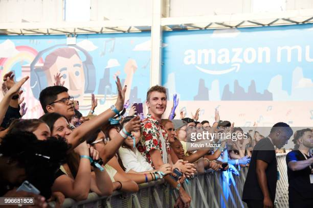 View of the crowd at the Amazon Music Unboxing Prime Day event on July 11 2018 in Brooklyn New York