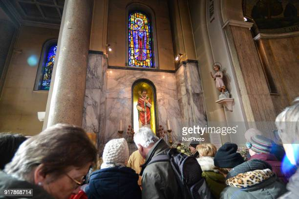 A view of the crowd at the chapel with the statue of patron saint of love St Valentine inside Whitefriar Church in Dublin St Valentine the patron...