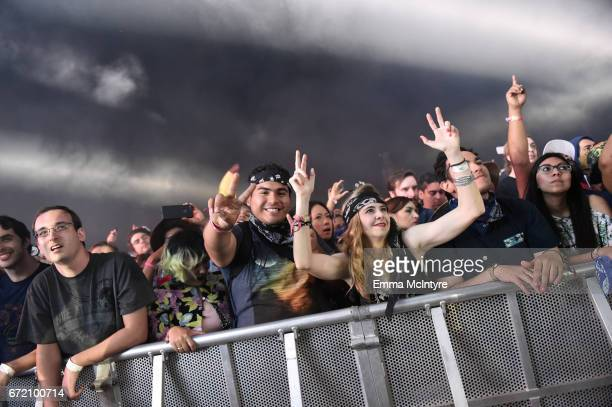 A view of the crowd at the Outdoor Theatre during day 3 of the Coachella Valley Music And Arts Festival at the Empire Polo Club on April 23 2017 in...