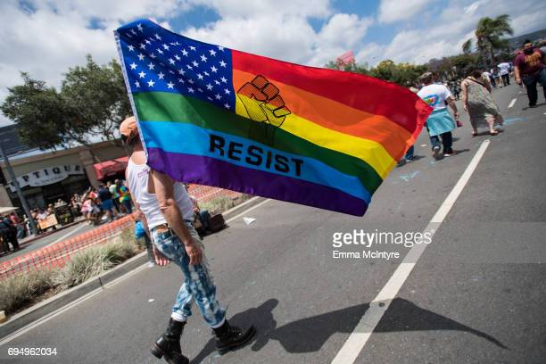View of the crowd at the LA Pride ResistMarch on June 11, 2017 in West Hollywood, California.