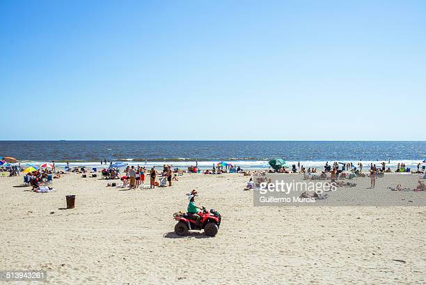 View of the crowd at the Rockaway Beach in Queens New York. August 24, 2014