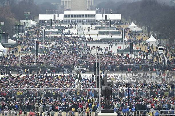 A view of the crowd at the US Capitol ahead of the inauguration of President Donald J Trump on January 20 2017