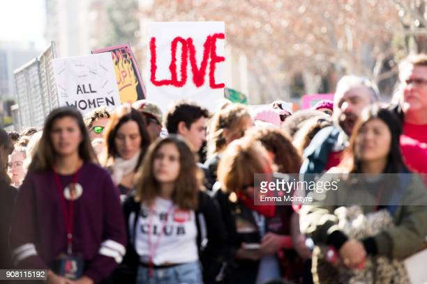 A view of the crowd at the women's march Los Angeles on January 20 2018 in Los Angeles California