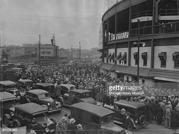 View of the crowd at Wrigley Field seeking tickets for the World Series game between the Chicago Cubs and the Detroit Tigers Chicago 1935