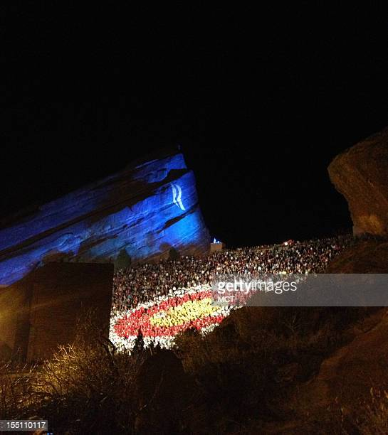 A view of the crowd awaiting Mitt Romney at the Red Rocks Amphitheatre outside Denver Colorado on October 23 2012