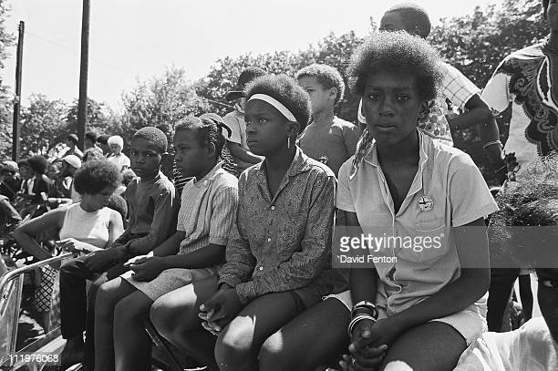 View of the crowd during a rally to free Bobby Seale Ericka Huggins and other Black Panther Pary members held in New Haven CT May 1970