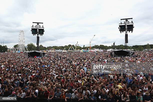 View of the crowd during Day 3 at The Isle of Wight Festival at Seaclose Park on June 15 2014 in Newport Isle of Wight