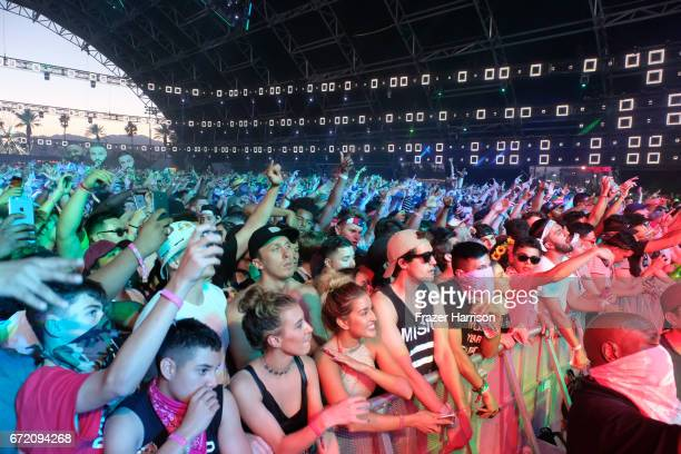 A view of the crowd during day 3 of the 2017 Coachella Valley Music Arts Festival at the Empire Polo Club on April 23 2017 in Indio California