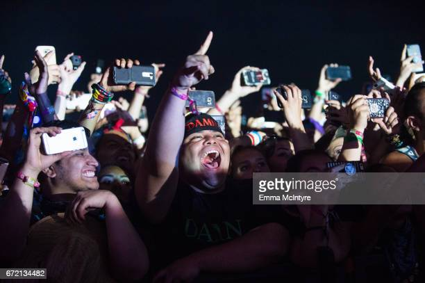 A view of the crowd during day 3 of the 2017 Coachella Valley Music Arts Festival on April 23 2017 in Indio California