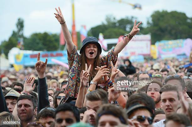 View of the crowd during Fall Out Boy performance at The Isle of Wight Festival at Seaclose Park on June 15 2014 in Newport Isle of Wight