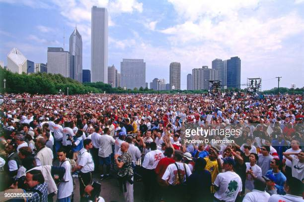 A view of the crowd during the 1998 Chicago Bulls Celebration Rally on June 16 1998 at Grant Park in Chicago Illinois NOTE TO USER User expressly...