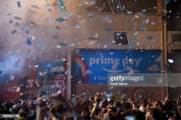 View of the crowd during the Amazon Music Unboxing Prime Day event on July 11 2018 in Brooklyn New York