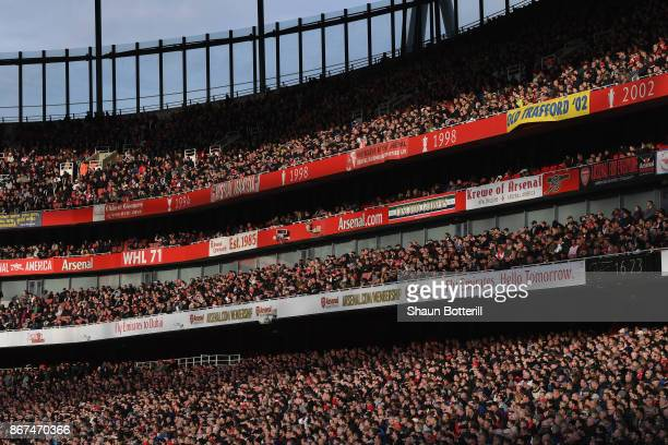 A view of the crowd during the Premier League match between Arsenal and Swansea City at Emirates Stadium on October 28 2017 in London England