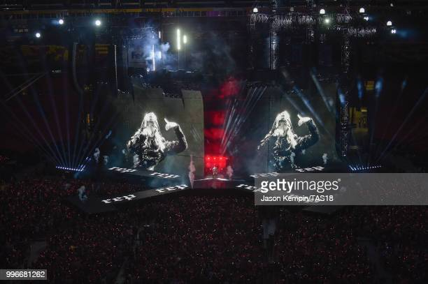 View of the crowd from above as Taylor Swift performs onstage during the Taylor Swift reputation Stadium Tour at FedExField on July 11, 2018 in...