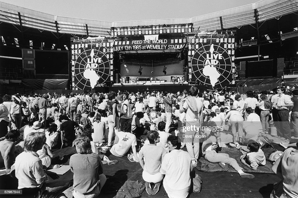 A view of the crowd in front of the stage at the Live Aid charity concert, Wembley Stadium, London, 13th July 1985.