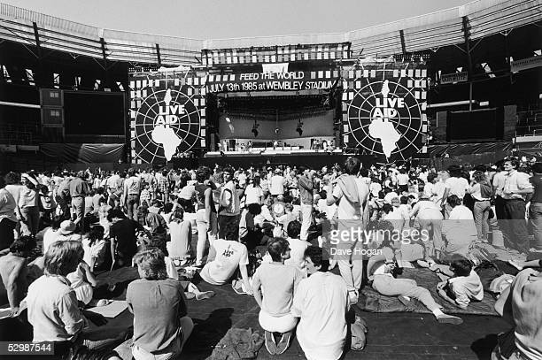 A view of the crowd in front of the stage at the Live Aid charity concert Wembley Stadium London 13th July 1985