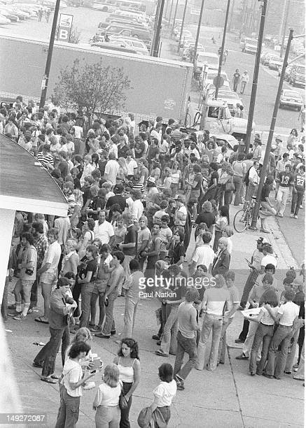View of the crowd lined up outside at Comiskey Park during an antidisco promotion Chicago Illinois July 12 1979 The event held between games of a...