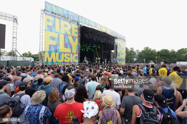 View of the crowd of music fan at the 2017 Firefly Music Festival on June 16, 2017 in Dover, Delaware.