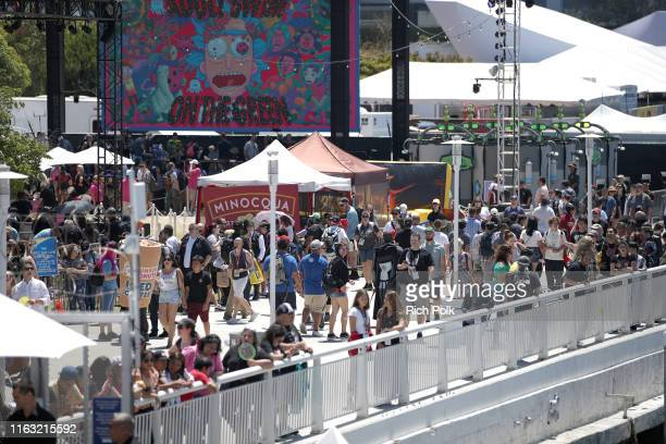 View of the crowd outside of the #IMDboat at San Diego Comic-Con 2019: Day Three at the IMDb Yacht on July 20, 2019 in San Diego, California.