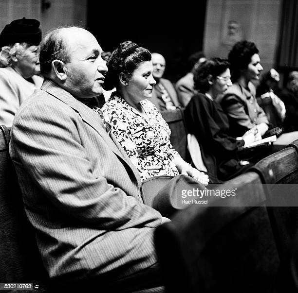 View of the crowd watching a concert sponsored by WNYC radio and held at the Brooklyn Museum Brooklyn New York New York 1947