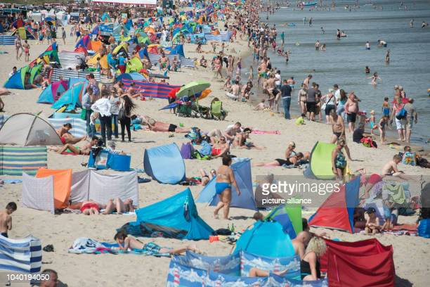 View of the crowded beach during warm weather at the Baltic Sea beach of Zinnowitz on Usedom island, Germany, 4 August 2016. PHOTO: STEFAN SAUER/dpa...