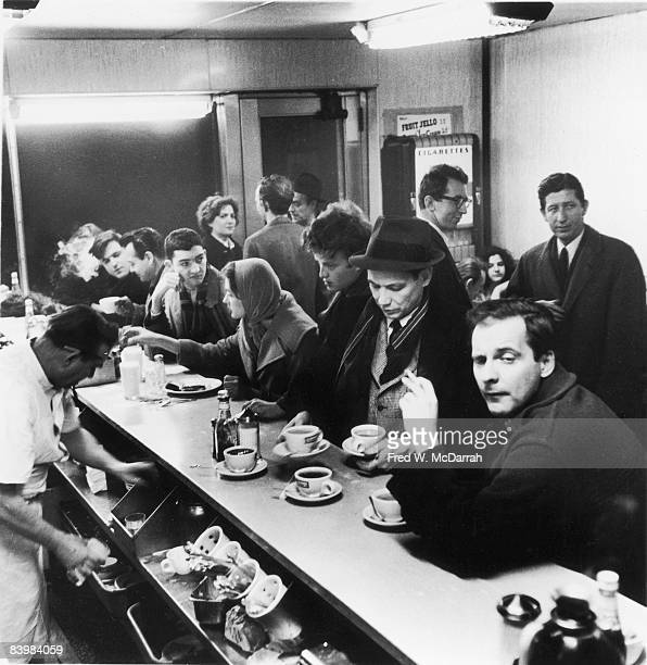 View of the crowded counter at Rikers Cafe on 8th Street New York New York March 19 1960 Among those pictured are Steve Montgomery Edward Avedisian...
