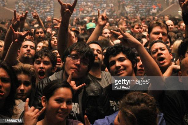 A view of the crowds attending a concert for the heavy metal group Megadeth at San Jose State Event Center Arena on February 12 2012 in San Jose...