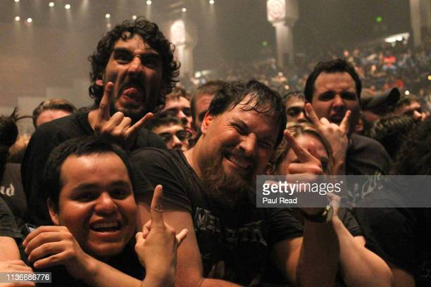 View of the crowds attending a concert for the heavy metal group Megadeth at San Jose State Event Center Arena on February 12, 2012 in San Jose,...
