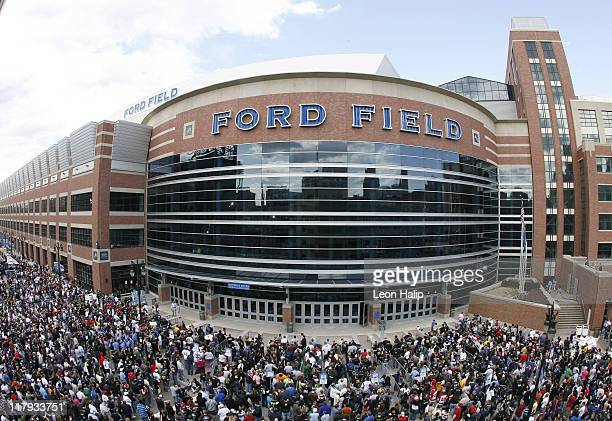 A view of the crowds outside Ford Field before WrestleMania 23 in Detroit Michigan on April 1 2007
