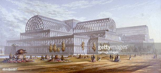 View of the Crystal Palace and its surrounding park Sydenham Bromley London 1854 Designed by Sir Joseph Paxton for the Great Exhibition of 1851 the...