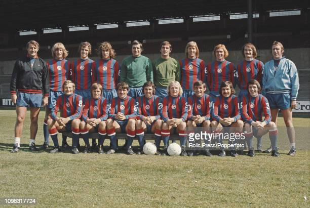 View of the Crystal Palace FC football team posed together on the pitch at Selhurst Park stadium at the start of the 197374 season on 8th August 1973...