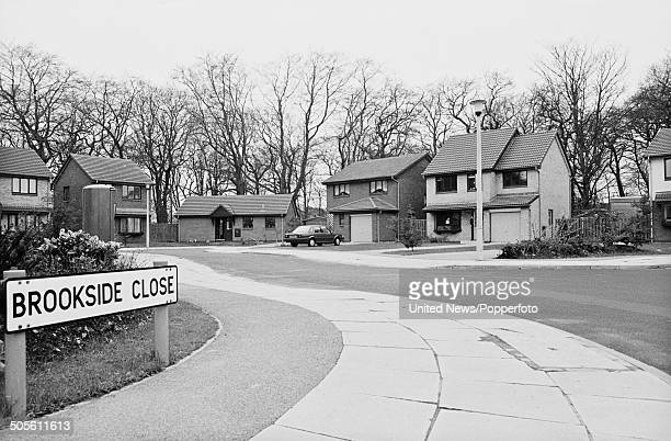 View of the culdesac of houses named Brookside Close that features as the set for the long running television soap opera Brookside located in...