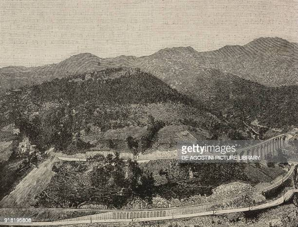 View of the Cuneo-Limone railway line by the helicoidal tunnel near Vernante, Italy, engraving after a photo by B Berra, from L'Illustrazione...