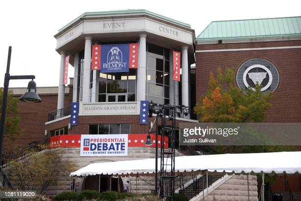 View of the Curb Event Center at Belmont University on October 19, 2020 in Nashville, Tennessee. Nashville is preparing for the Presidential debate...