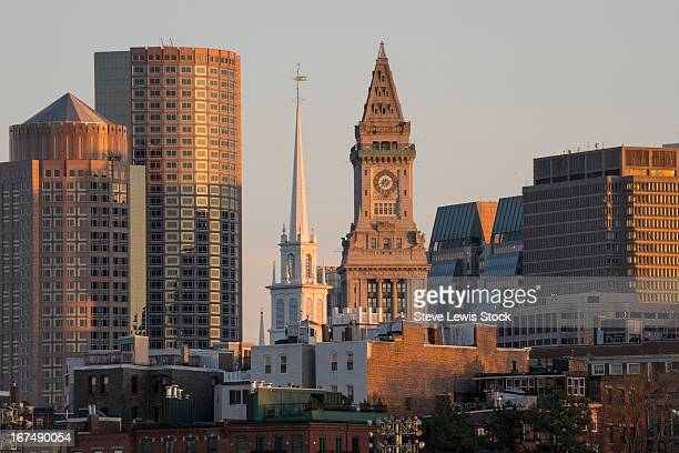 view of the custom house and north church. - clock tower stock pictures, royalty-free photos & images