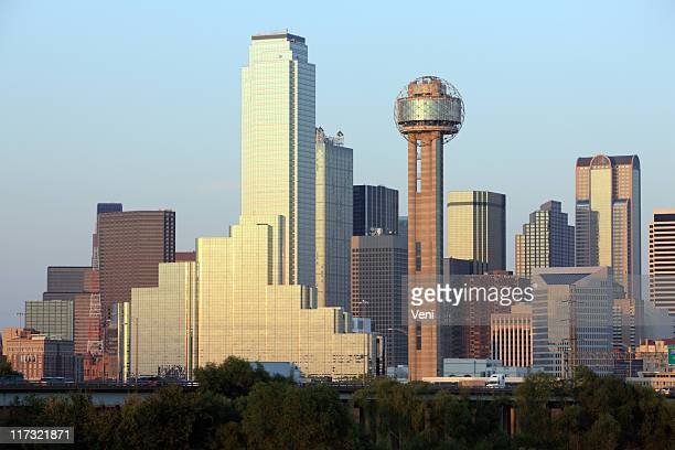 A view of the Dallas, Texas skyline on a sunny day