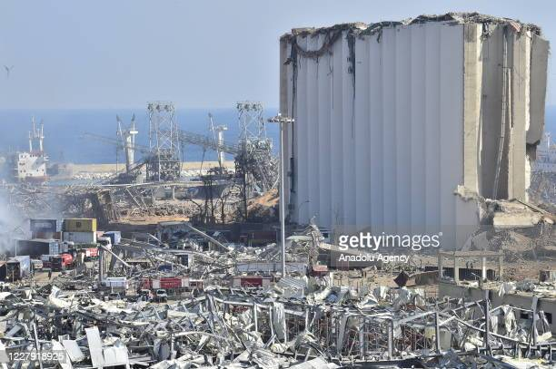 View of the damage after a fire at a warehouse with explosives at the Port of Beirut led to massive blasts in Beirut, Lebanon on August 5, 2020. The...