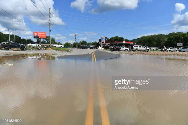View of the damage after heavy rain and devastating floods in Waverly, Tennessee, United States on August 22, 2021. At least 22 people were killed...
