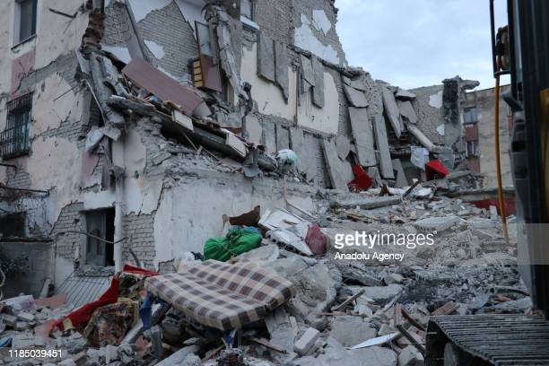 A view of the damage at the site after 56magnitude earthquake hits Thumane district in Durres Albania on November 27 2019 Earthquake occured during a...