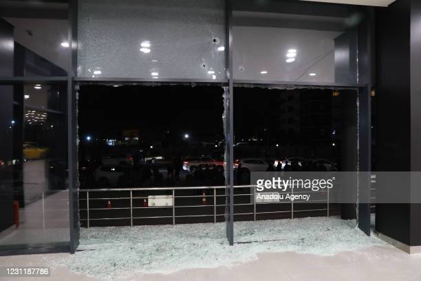 View of the damage at the workplace on Gulan Street, where one of the fired rockets was hit on February 15, 2021 in Erbil, Iraq. According to the...