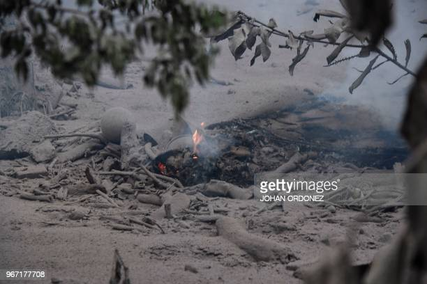 View of the damage casued by the eruption of the Fuego Volcano in San Miguel Los Lotes a village in Escuintla Department about 35 km southwest of...