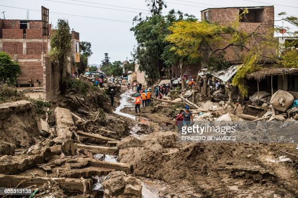 TOPSHOT A view of the damage caused by flash floods in Huachipa district east of Lima on March 19 2017 El Ninofuelled flash floods and landslides hit...