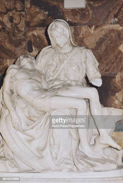 View of the damage caused to Michelangelo's Pieta statue in St Peter's Basilica Vatican City after Hungarian born Laszlo Toth attacked the marble...
