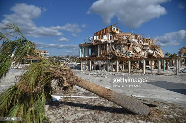 TOPSHOT View of the damaged caused by Hurricane Michael in Mexico Beach Florida on October 13 2018 Four days after Hurricane Michael's devastating...