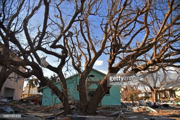 TOPSHOT View of the damaged caused by Hurricane Michael in Mexico Beach Florida on October 14 2018 Four days after Hurricane Michael's devastating...