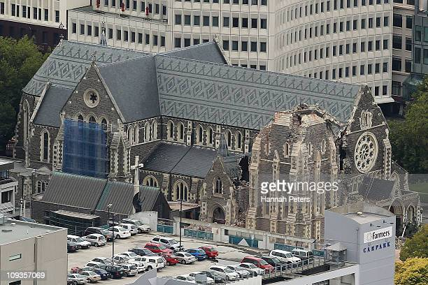 A view of the damaged Christchurch Cathedral is shown on February 23 2011 in Christchurch New Zealand A massive search and rescue mission is underway...