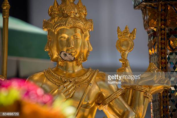 View of the damaged Erawan Statue during the reopening Erawan Shrine in Central Bangkok on August 19th 2015, after a bomb exploded outside this...