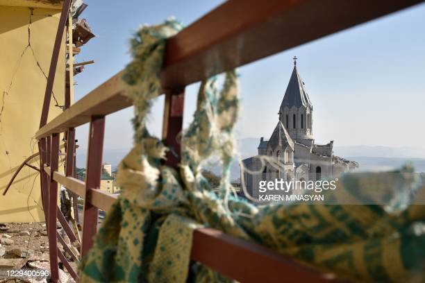 View of the damaged Ghazanchetsots Cathedral in the historic city of Shusha, some 15 kilometers from the disputed Nagorno-Karabakh province's capital...