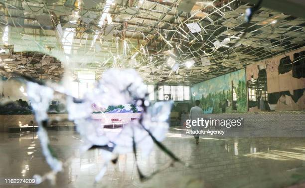 A view of the damaged site after an overnight suicide bomb blast that targeted a wedding reception in Kabul Afghanistan on August 18 2019 Authorities...